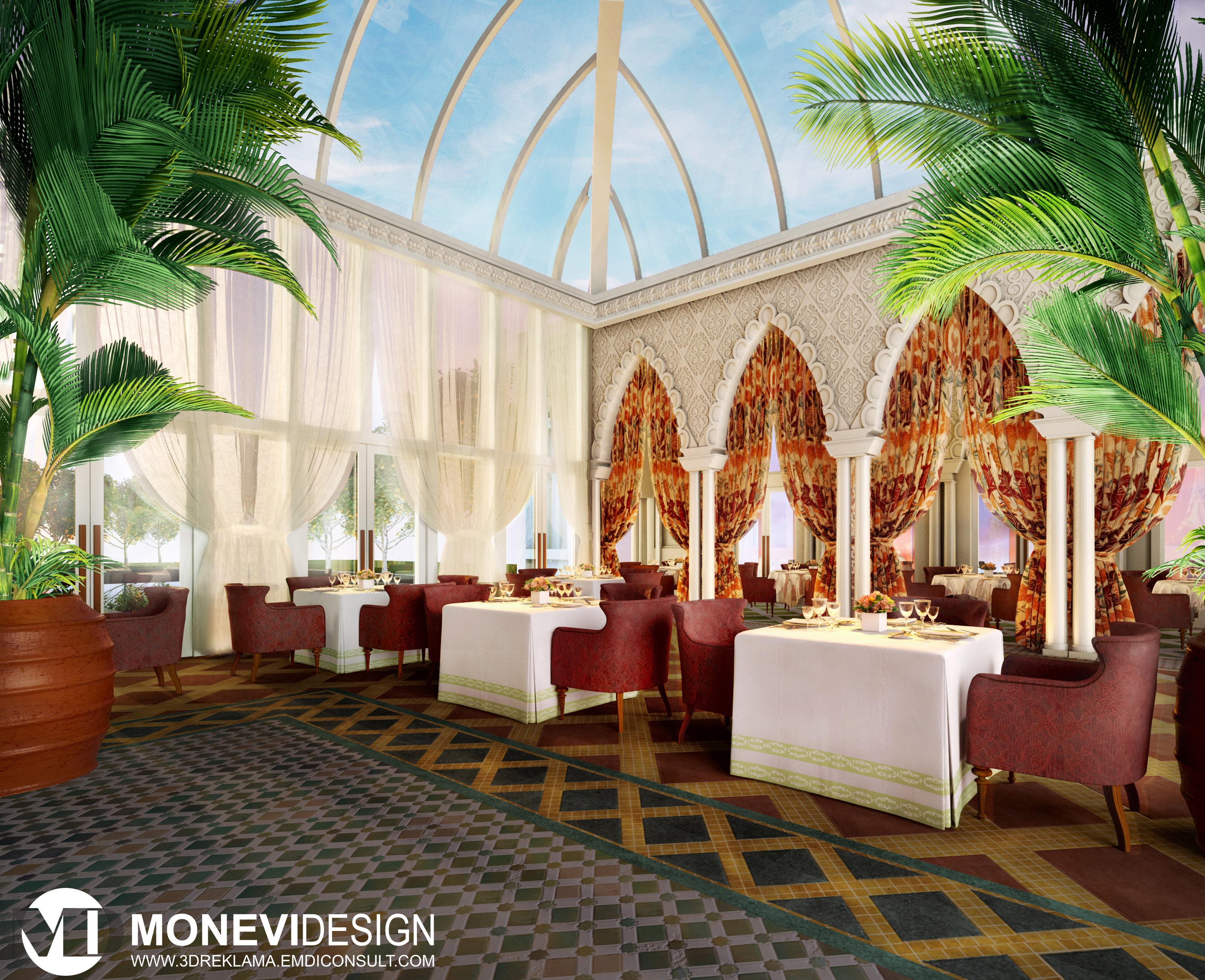 Morocco Restaurant Interior Design 3d Rendering Monevidesign